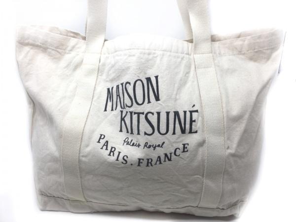 MAISON KITSUNE(メゾンキツネ) トートバッグ アイボリー×黒 コットン