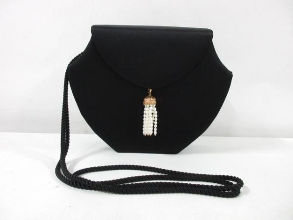 ミキモト ショルダーバッグ 黒×アイボリー×ゴールド サテン×金属素材×パール