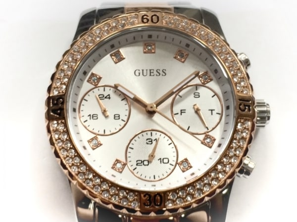 GUESS(ゲス) 腕時計美品  U0851L3 メンズ ラインストーンベゼル シルバー