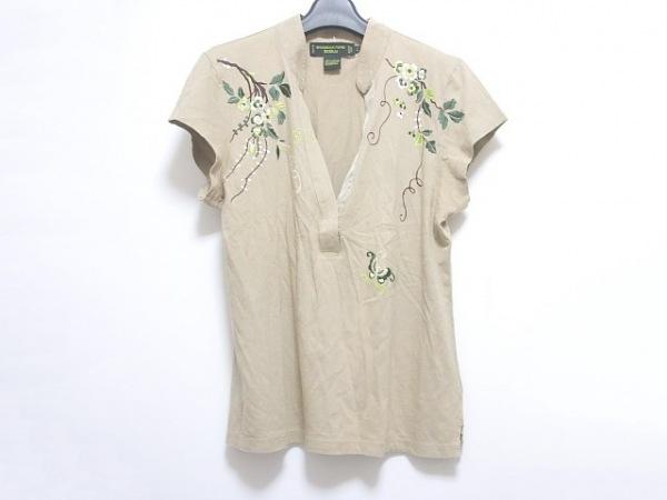 シャンハイタン 半袖カットソー サイズL レディース ベージュ×グリーン×マルチ