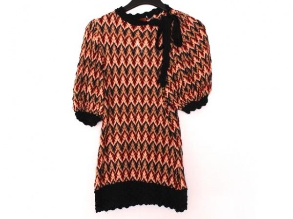 ミッソーニ 半袖セーター レディース美品  ベージュ×ダークブラウン×マルチ