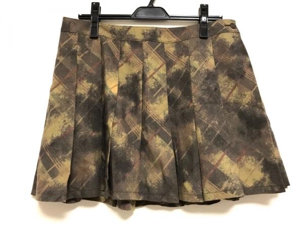 ゴルチエ 巻きスカート サイズ38 M レディース美品  カーキ×ライトグリーン×マルチ