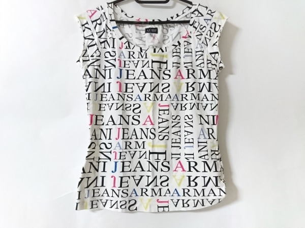 アルマーニジーンズ Tシャツ サイズ40 M レディース美品  アイボリー×黒×マルチ