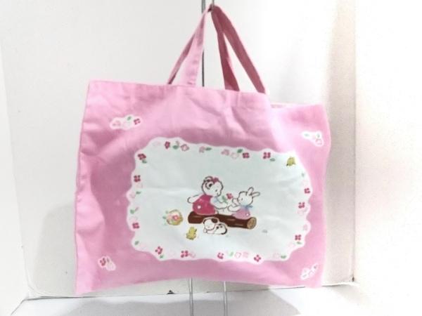 familiar(ファミリア) トートバッグ美品  ピンク×白×マルチ コットン