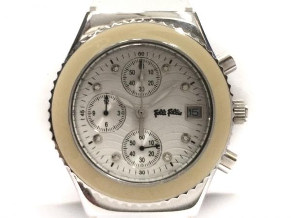 フォリフォリ 腕時計美品  WF5T127SVS レディース 革ベルト/クロノグラフ 白