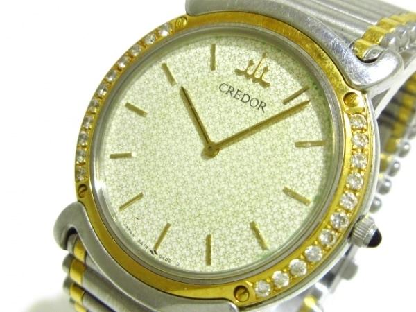 セイコークレドール 腕時計 5A74-0190 レディース SS×YG/ダイヤベゼル アイボリー