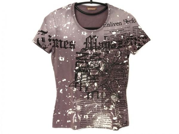 galliano(ガリアーノ) 半袖Tシャツ レディース ダークグレー×黒×アイボリー
