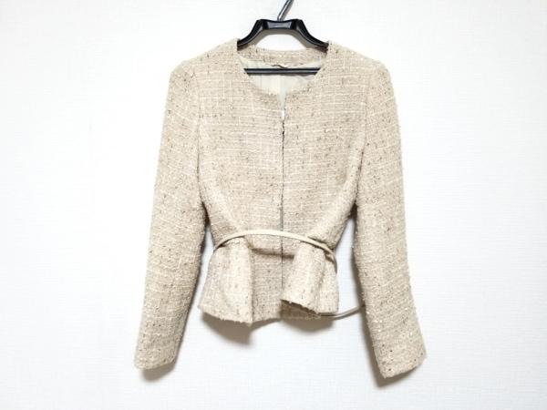 アナイ ジャケット サイズ38 M レディース美品  ベージュ×白×ライトブラウン ラメ