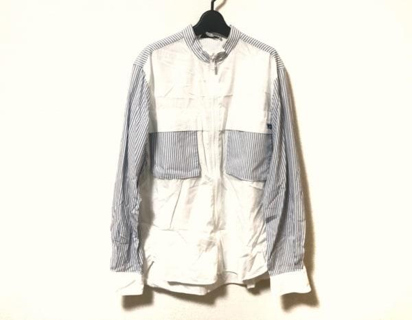 Y-3(ワイスリー) ブルゾン サイズS メンズ - - 白×ネイビー 長袖/ストライプ/春