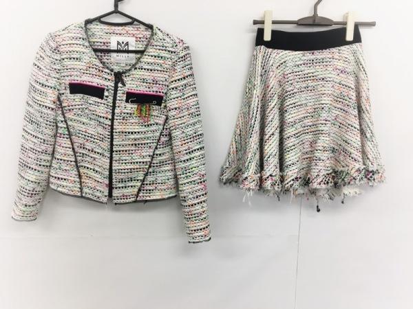 MILLY(ミリー) スカートスーツ サイズ0 XS レディース美品  黒×白×マルチ