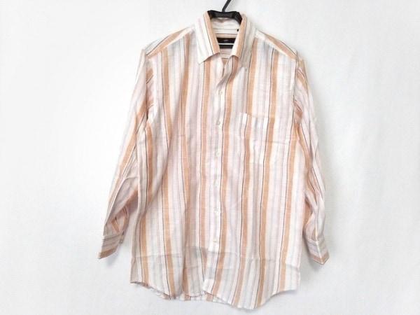 ゼニア 長袖シャツ サイズS メンズ新品同様  白×オレンジ×マルチ ストライプ