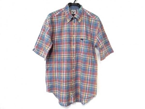 ファソナブル 半袖シャツ サイズM メンズ新品同様  ブルー×オレンジ×マルチ