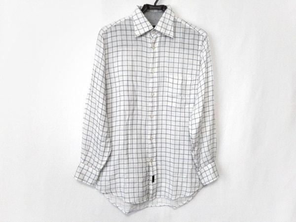 ゼニア 長袖シャツ サイズS メンズ美品  アイボリー×ネイビー チェック柄