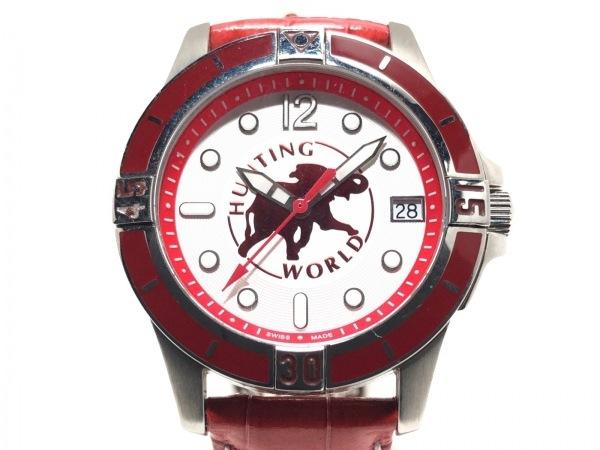 ハンティングワールド 腕時計美品  HW-917 レディース 革ベルト/型押し加工 白