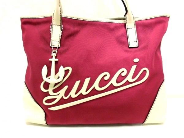 buy popular 1eafc 3d2e3 GUCCI(グッチ) トートバッグ - 170007 ピンク×白 キャンバス×レザー