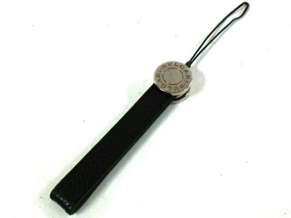 BVLGARI(ブルガリ) 携帯ストラップ 黒×シルバー レザー×金属素材