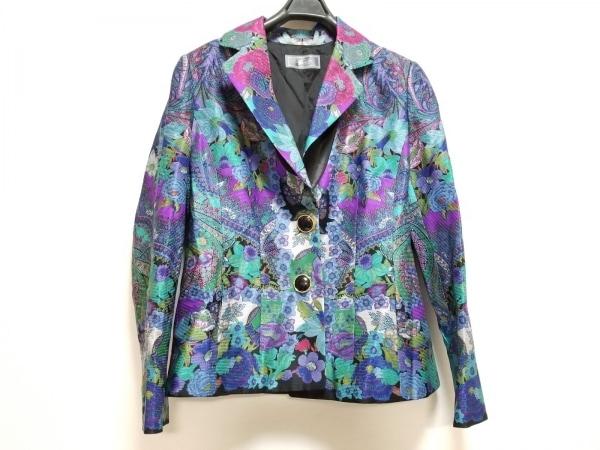 ギンザマギー ジャケット サイズ42 L レディース美品  ブルー×パープル×マルチ 花柄