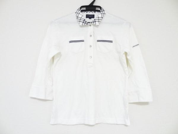 バーバリーゴルフ 七分袖ポロシャツ サイズM レディース美品  アイボリー×ネイビー