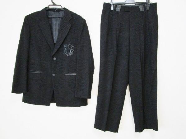 バレンザスポーツ シングルスーツ メンズ 黒×ダークグレー クロコ柄/部分レザー