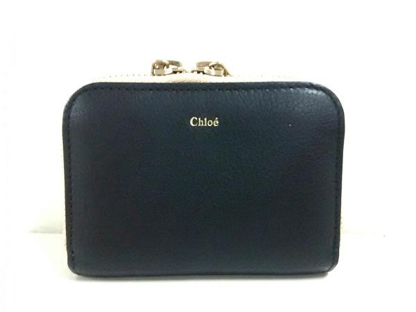 Chloe(クロエ) コインケース美品  ベイリー 黒×アイボリー ラウンドファスナー