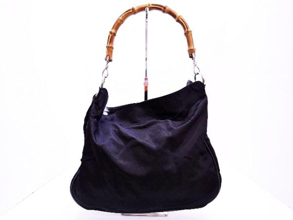GUCCI(グッチ) ハンドバッグ バンブー - 黒×ブラウン ナイロン×天然繊維