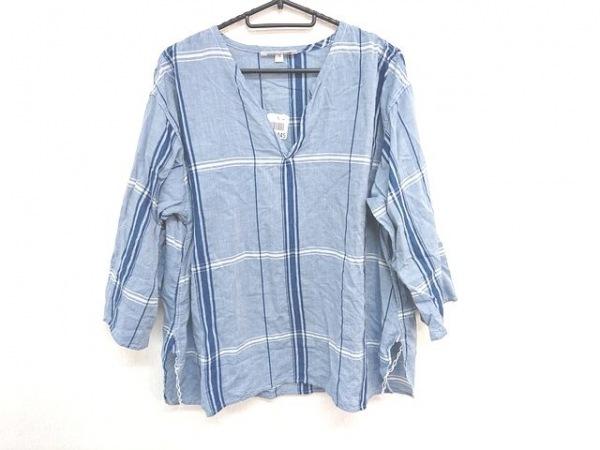 アルテポーヴェラ 七分袖カットソー サイズS レディース美品  ブルー×ネイビー×白