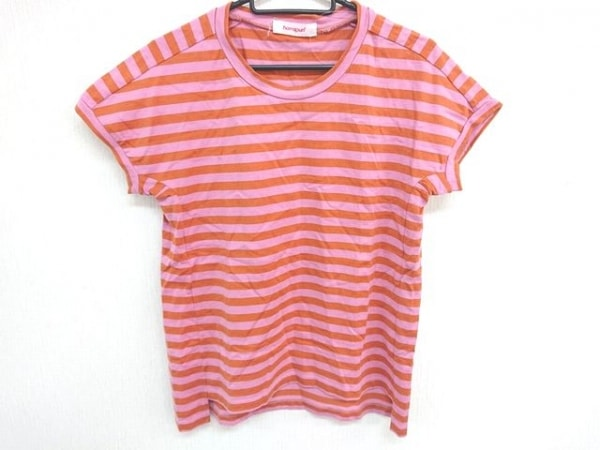 homspun(ホームスパン) 半袖Tシャツ サイズF レディース美品  ピンク×オレンジ