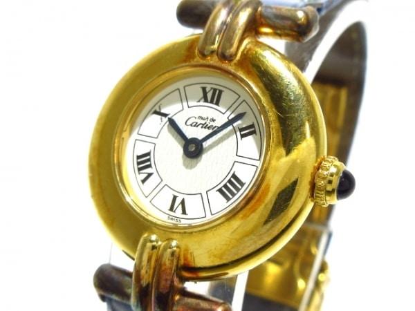 Cartier(カルティエ) 腕時計 マストコリゼ - レディース 革ベルト 白