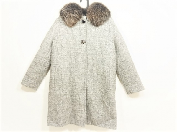 ムーレー ダウンコート サイズ46 XL レディース美品  グレー×マルチ 内側ダウン/冬物