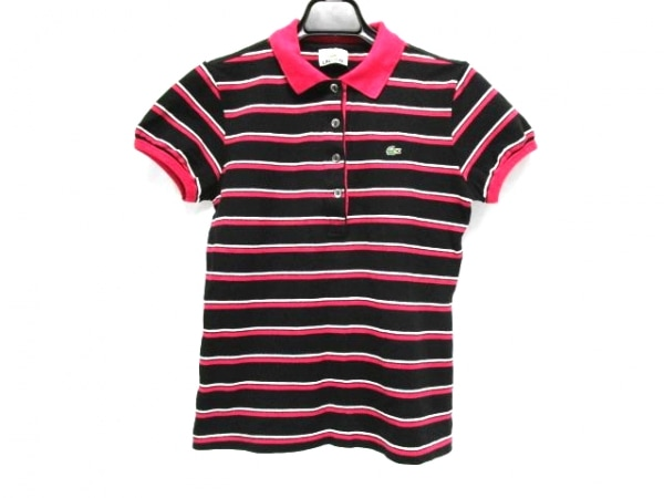 Lacoste(ラコステ) 半袖ポロシャツ サイズ40 M レディース 黒×ピンク×白 ボーダー
