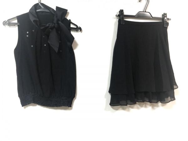 クリスタルシルフ スカートセットアップ サイズ34S レディース美品  黒 スパンコール