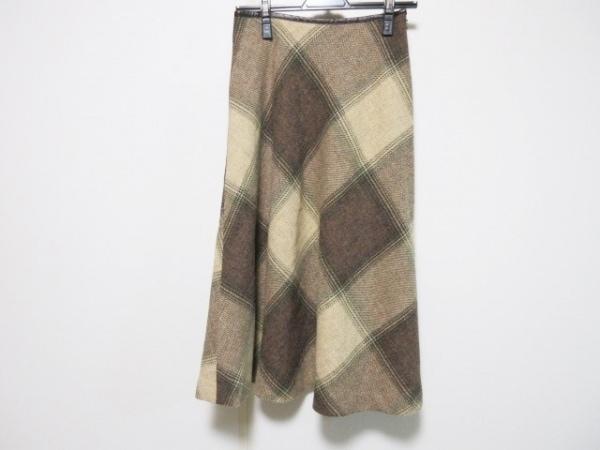 スキャパ ロングスカート サイズ38 L レディース ブラウン×ベージュ×ライトブラウン