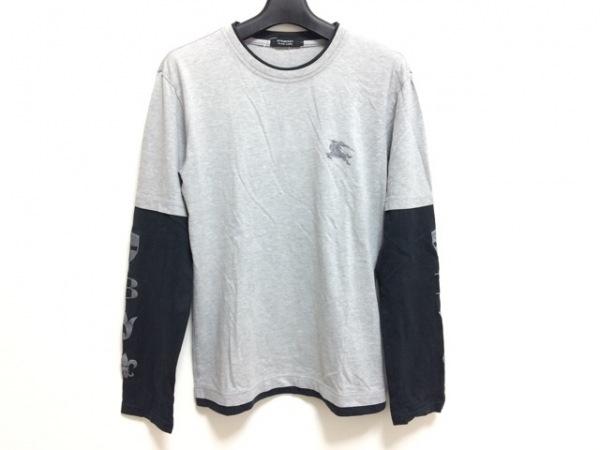 バーバリーブラックレーベル 長袖Tシャツ サイズ2 M メンズ グレー×黒 刺繍