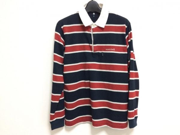 モンベル 長袖ポロシャツ サイズS メンズ 黒×レッド×マルチ ボーダー/刺繍