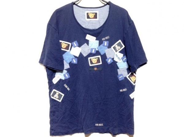 PINK HOUSE(ピンクハウス) 半袖Tシャツ レディース ネイビー×ブルー×マルチ
