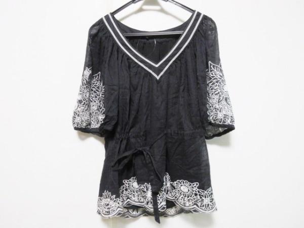 ビーシービージーマックスアズリア チュニック サイズM レディース 黒×白 花柄/刺繍