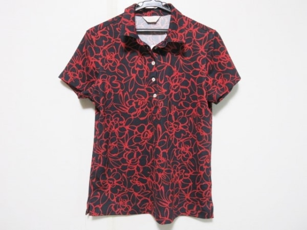 Adabat(アダバット) 半袖ポロシャツ サイズ42 L レディース ダークグレー×レッド