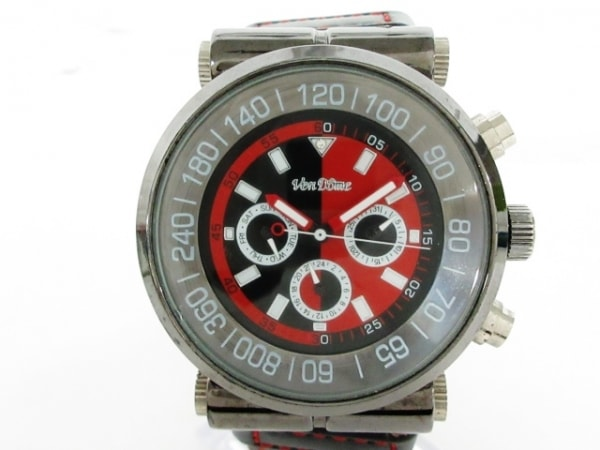 ven DOME(ヴァンドーム) 腕時計 メンズ 革ベルト/クロノグラフ レッド×黒×シルバー