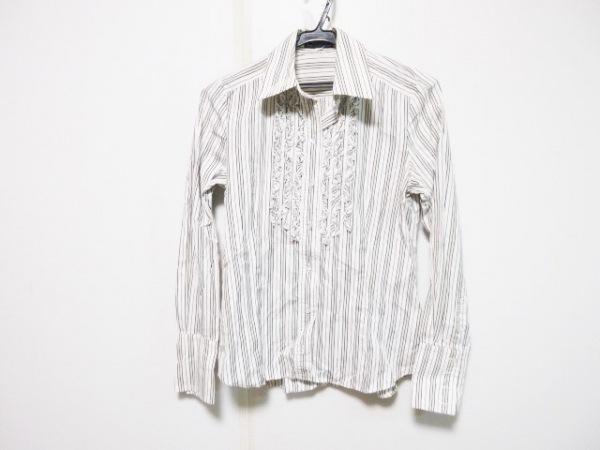 バーバリーブルーレーベル 長袖シャツブラウス サイズ38 M レディース 白×黒×レッド