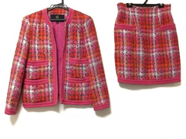 クレイサス スカートスーツ サイズ38 M レディース ピンク×オレンジ×マルチ