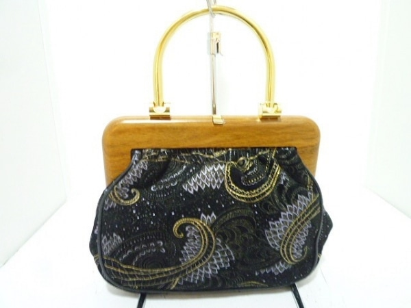 バリー ハンドバッグ 黒×ライトブラウン×マルチ 刺繍 スエード×ウッド×金属素材