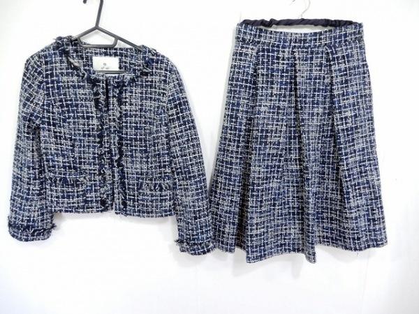 ef-de(エフデ) スカートスーツ サイズ9 M レディース ダークネイビー×マルチ
