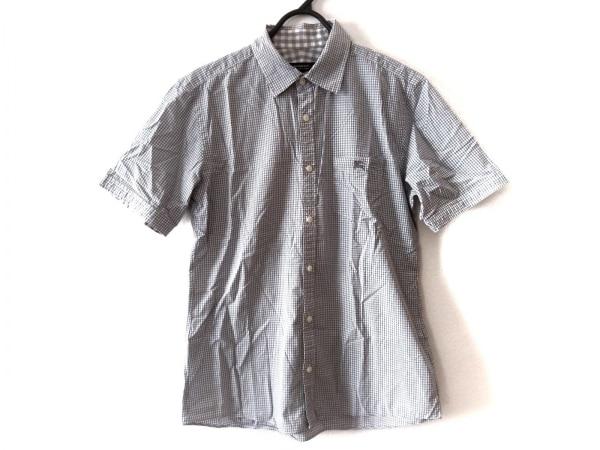 バーバリーブラックレーベル 半袖シャツ サイズ2 M メンズ グレー×白 チェック柄