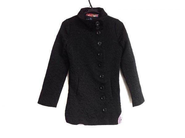 Desigual(デシグアル) コート サイズ36 M レディース 黒×マルチ 冬物/刺繍