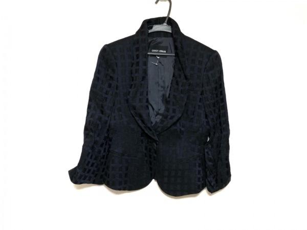 ジョルジオアルマーニ ジャケット サイズ36 S レディース美品  黒×ダークネイビー