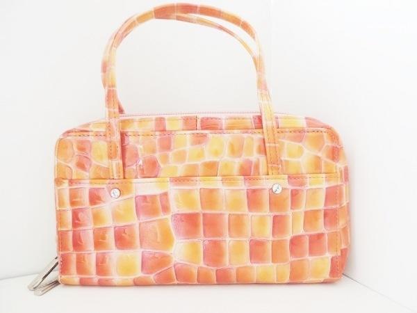 FRECCIA(フレッチャ) 財布 オレンジ×イエロー 型押し加工 エナメル(レザー)