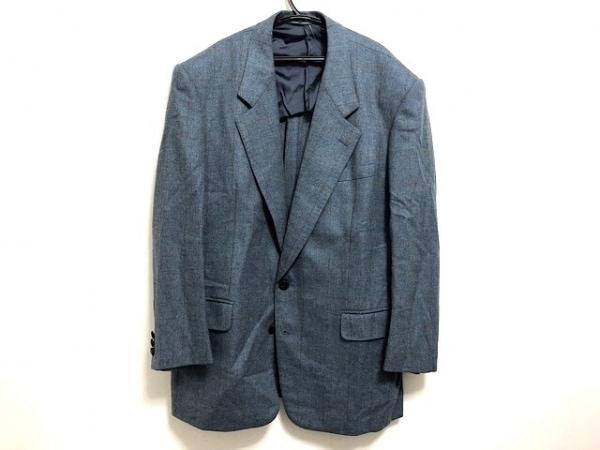 LANVIN(ランバン) ジャケット メンズ ライトブルー×ブラウン チェック柄