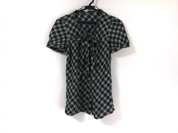 バーバリーブルーレーベル 半袖シャツブラウス サイズ36 S レディース 黒×白×マルチ