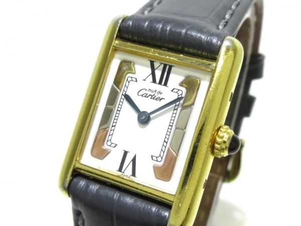 カルティエ 腕時計 マストタンクヴェルメイユ - レディース 925/社外革ベルト 白