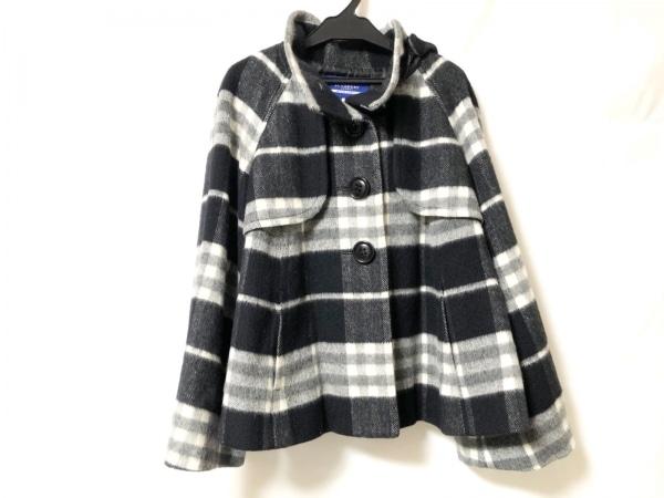 バーバリーブルーレーベル コート サイズ38 M レディース美品  黒×グレー×白